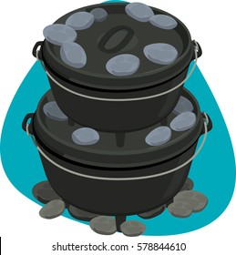 Big and small dutch oven. Round black pot with thick walls and lid with ridge for placing coal. Isolated. On blue background.