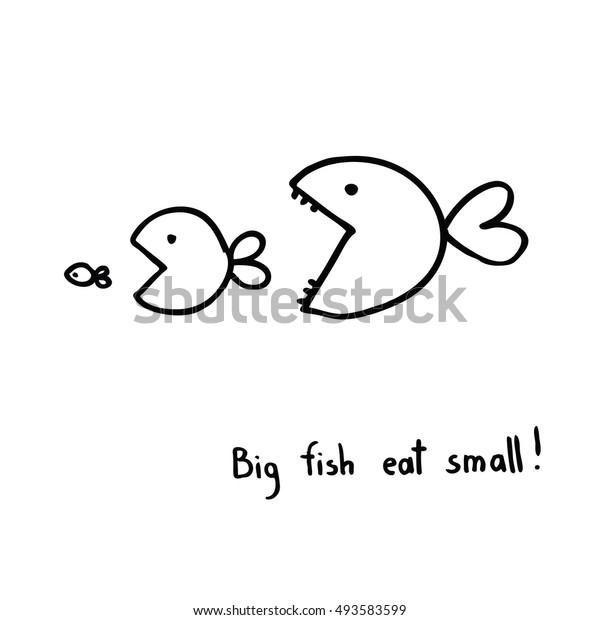 Big Small Fish Drawing Stock Vector Royalty Free 493583599