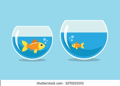 Big and small goldfish looking at each other. Vector illustration