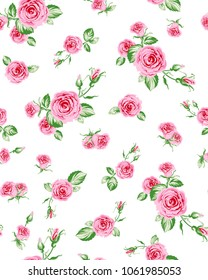 Big and small rose flowers pattern with leaves