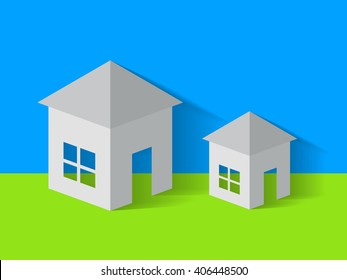 Big and small vector houses on green and blue background