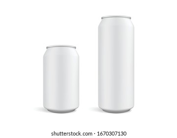 big and small white cans isolated on white background vector mock up