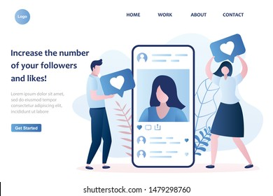 Big smartphone with a female avatar on screen. Male and female followers gives like. Social network communication landing page template. Trendy style vector illustration