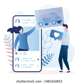 Big smartphone and female character with photo, male follower gives like. Social network communication concept. Trendy style vector illustration