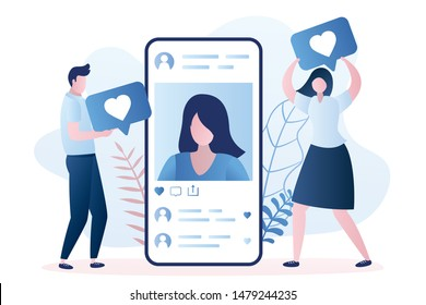 Big smartphone with a woman avatar, male and female followers gives like. Social network communication concept. Trendy style vector illustration