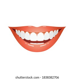 Big smile teeth, perfect smile with lipstick and white teeth, dental care and whitening teeth, close up smile for mouth wash and toothpaste product, dental cosmetic or surgery