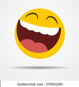 Big smiling emoticon in a flat design