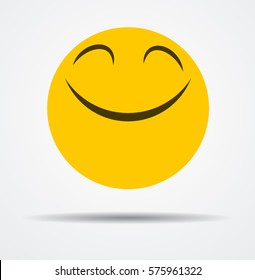 Big smiling emoticon in a flat design