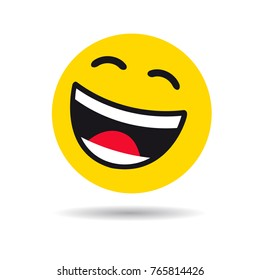 Big smiling emoticon symbol. Happy yellow smiley in a flat design on white background. Vector emoticon joy icon