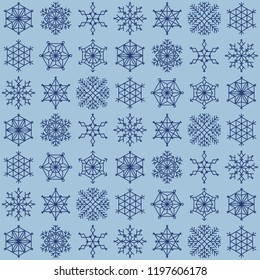 Big snowflake seamless texture pattern blue color different size on white background often