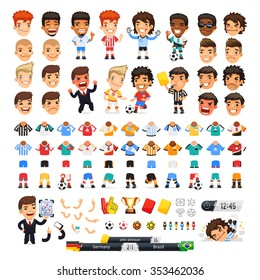 Big soccer set for your design or animation. Cartoon international football players and icons. Isolated on white background. Clipping paths included.