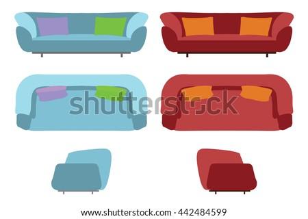 Big Sofas Set Furniture Your Interior Stock Vector Royalty Free