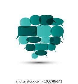 Big Speech Bubble from Smaller Turquoise Speech Bubbles