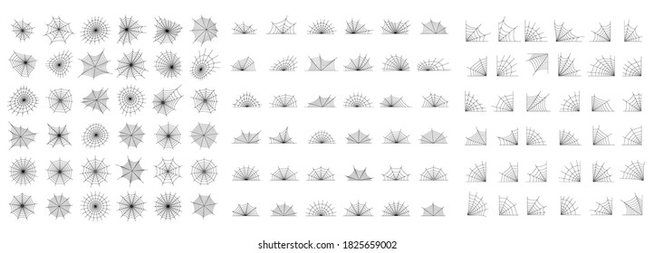 Big spider web icons set of various shapes. Halloween decoration with cobweb. Spiderweb flat vector illustration. Horror, fear and creepy cartoon art concept. Net outline sketch on white background