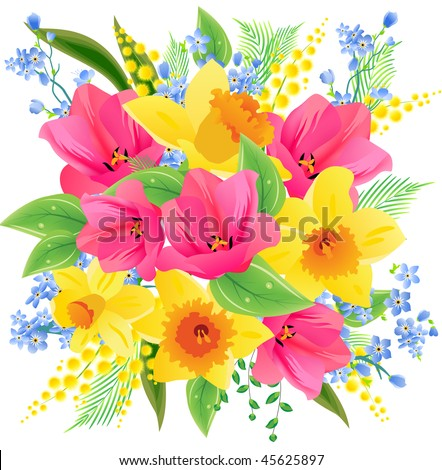 Big spring beautiful bunch flowers tulips stock vector royalty free big spring beautiful bunch of flowers with tulips daffodils and forget me nots mightylinksfo