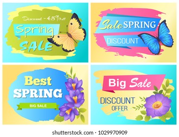 Big spring sale advertisement labels crocus purple flowers and colorful butterflies vector illustration stickers set. Emblems with blossom of plants