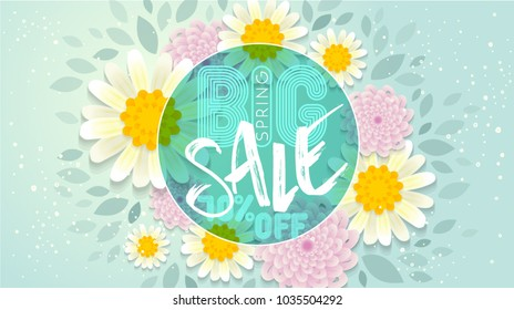 Big Spring Sale Banner.Spring blossom. Happy Women's Day. 8 March. Text. Seasonal holiday. Spring Sale Poster, voucher discount. Fresh style spring summer flyer easy editable for You.