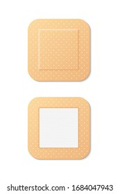 Big square medical plaster realistic icon. First aid kit, healing, injury. Plaster concept. Vector illustration can be used for topics like medicine, pharmacy, healthcare