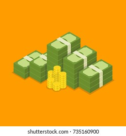 Big stacked dollar pile of cash and gold coins. Hundreds of dollars. Vector isometric illustration.