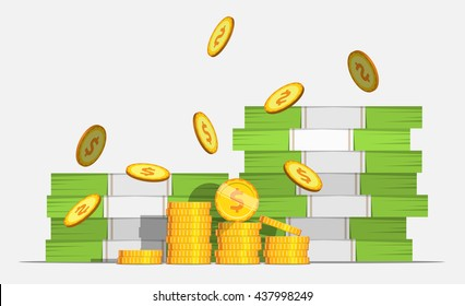 Big stacked pile of cash money and some gold coins. Coin Falls. Flat style cash money illustration.