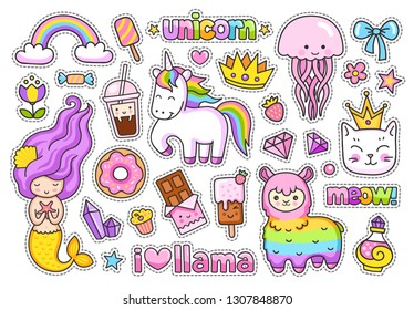 Big stickers pack. Kawaii little mermaid, llama, cat, rainbow magic unicorn, jellyfish, ice cream, crown, chocolate bar, donut, cake, diamond. Set of cute cartoon characters.