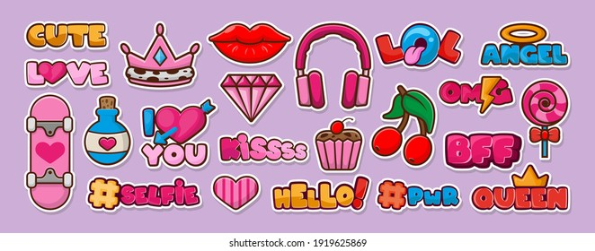 Big stickers pack. Kawaii patch set. Crown, slogan, cherry, lollipop, skateboard, lips, lol. Vector illustration design.