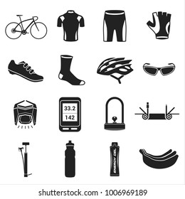 Big stock of sports, bicycle icon on white background.
