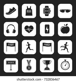 Big stock of sports, running icon on white square background.