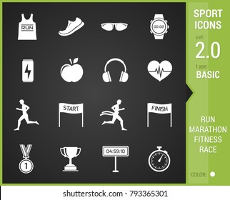 Big stock of sports, running icon on black background.
