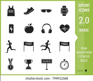 Big stock of sports, running icon on white background.