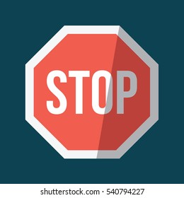 A big stop sign illustration isolated in a blue background