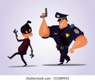 Big strong policeman character chasing bandit. Vector flat cartoon illustration