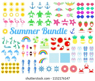 Big summer bundle with design elements. Turtle, sun, seahorse, mermaid tail, rainbow, flamingo, watermelon, pineapple, dolphin, anchor, strawberry, palm, donut, emoji,  shell. Vector illustration