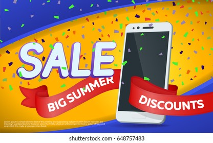 Big summer discounts. Sale banner template design. Smartphone, bright ribbon and confetti. Banner with yellow background. Vector illustration.