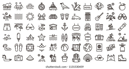 Big summer holidays icon set. Vector thin line illustrations with objects, activities and places related with traveling, tourism, outdoors in the beach and mountain, camping, resorts and hotels.