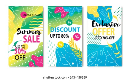 Big Summer Price Fall Social Media Post and Flyer Set. Vector Flat Illustration Lettering Sales up to 50, 70, 80 Percent, Discount and Exclusive Offer for End of Season. Promotional Networks Materials