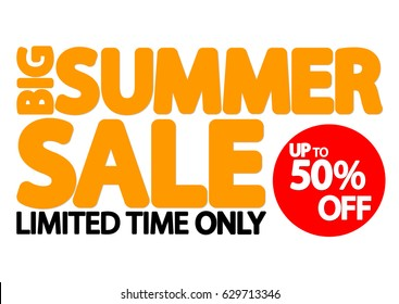 Big Summer Sale, up to 50 percent off, poster design template, vector illustration
