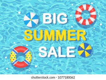 Big summer sale banner, background. Life buoy floating in swimming pool. Beach rubber ring, air ball on water isolated on background. Lifebuoy, Inflatable circle. Vector flat design