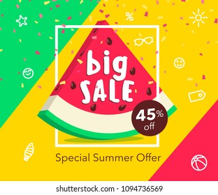 Big summer sale beautiful web banner. Cute watermelon slice in frame. Special Summer offer advertising poster. Flat fashionable geometric style. Vector illustration with spesial discount offer.
