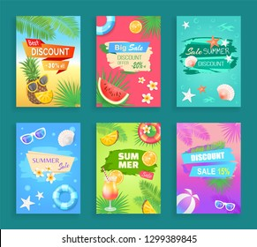 Big summer sale, best discount offer shaped ribbon and spot, vector banner. Beach party theme, inflatable ring, sun glasses, seashore and palm leaves