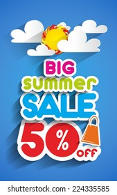 Big Summer Sale With Clouds And Sun vector illustration