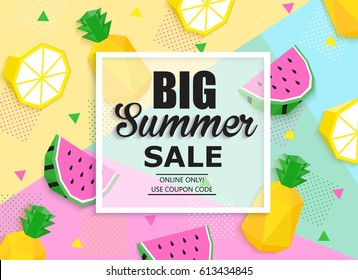 Big summer sale colorful banner with watermelon, lemon, pineapple, place for text. Trendy seasonal universal background.
