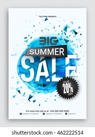 Big Summer Sale Flyer, Sale Banner, Sale Poster, Flat 20% Discount Offer, Sale Vector Illustration with creative abstract design.