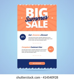 Big summer sale newsletter template. Email layout in flat style. Vector illustration.