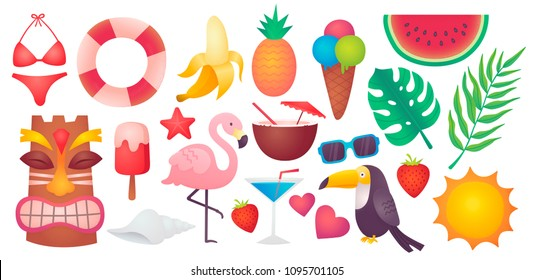 Big summer set. Summer label, logo, icon and element. Tropical, travel, sun and beach. Vector illustration.