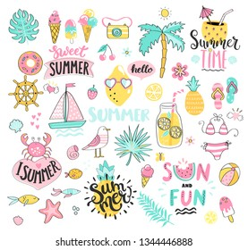 Big Summer set of sun and fun hand drawn elements such as boat,sun,drinks and fish,crab,palm,fruits, tropical leaves. Perfect for web,card,poster,cover,tag,invitation,sticker.Vector illustration.