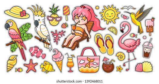 Big summer set. Tropical birds, parrots, flamingo, hummingbird, girl, deck chair, bag, fish, panama hat, flip flops, ice cream. Vector cartoon illustrations for sticker kit, pins, print, poster.