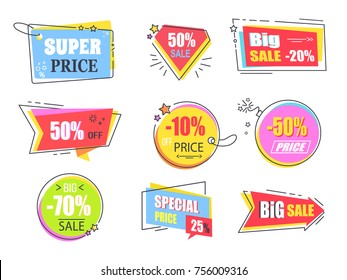 Big super sale promotional stickers with stars set. Emblems in shape of round bomb, tags with threads, and rectangular cards vector illustrations.