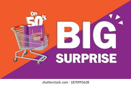 big surprise text and 50% off concept for advertising design,vector concept design