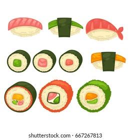Big sushi and maci rolls isolated illustrations set